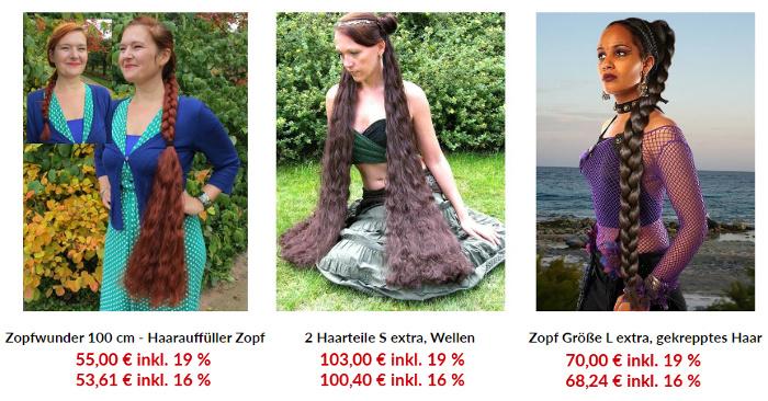 Mehrwertsteuersenkung Preisunterschied bei 100 cm langen Haarteilen