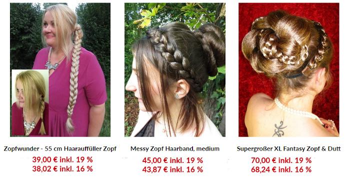 Preisvergleich Haarteile in Deiner Haarfarbe mit 19 versus 16 % Umsatzsteuer