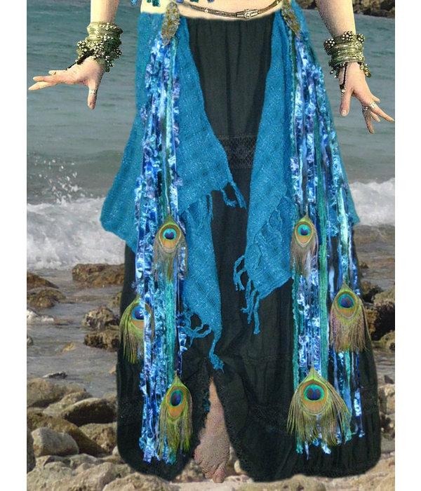 Blue Mermaid (peacock) belly dance yarn fall