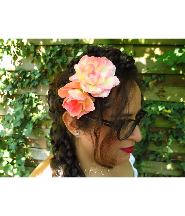 Boho Rose Hair Flowers apricot antique pink