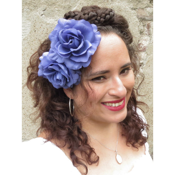 Blue Rose Hair Flower 2 x