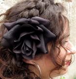Black Velvet Rose Hair Flower 2 x