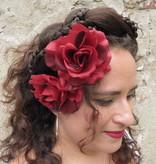 Haarblüte Rose weinrot 2 x