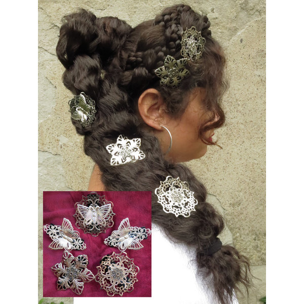 Filigree Silver Hair Flowers, 2-6 pcs