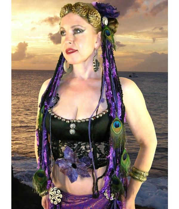 Gürtel- & Haarschmuck Purple Passion Pfau
