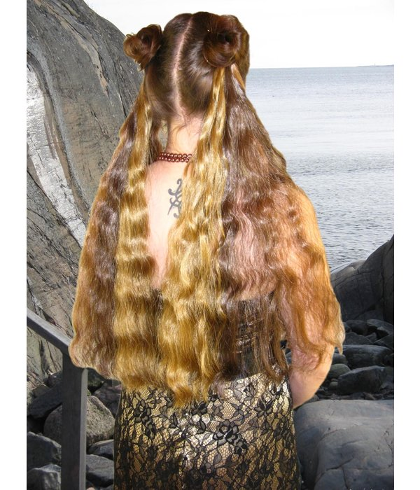 2 Steampunk Stripes Haarteile, gewellt S