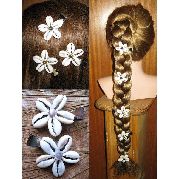 Cowry Hair Flowers, stone beads