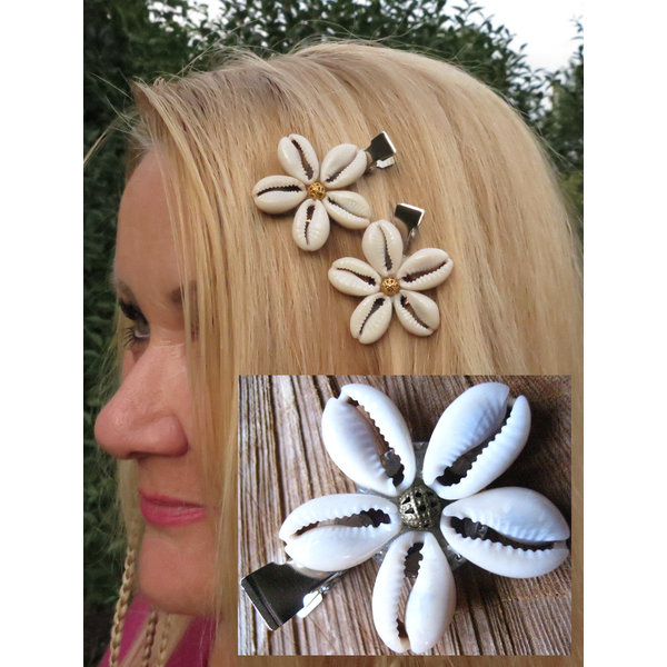 Cowry Hair Flowers, bronze or gold
