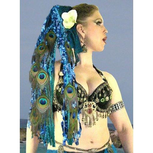 Blue Mermaid Pfau Haarteil