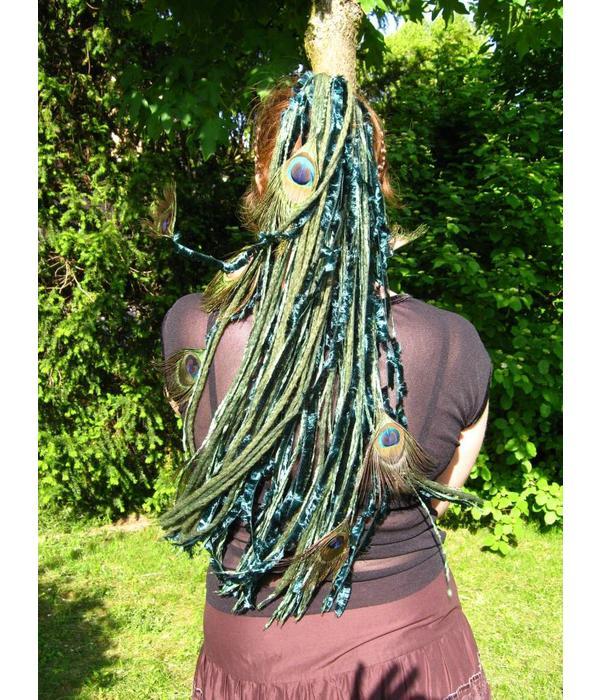 Smaragdfee Pfau - Pfauenfeder Haarteil