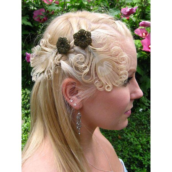 Heller Pfauenfeder Haarclip