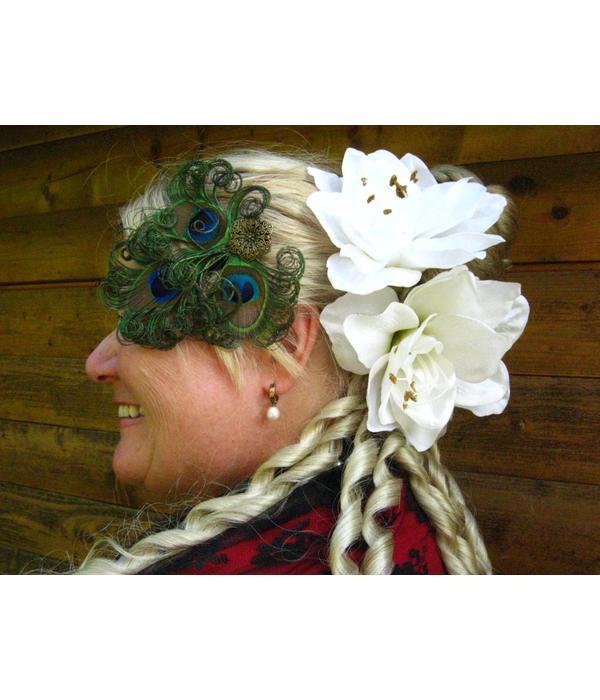 Boho PeacockFeather Headpiece - antique brass flower