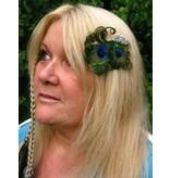 Schmetterling Pfauenfeder Haarclip, silber