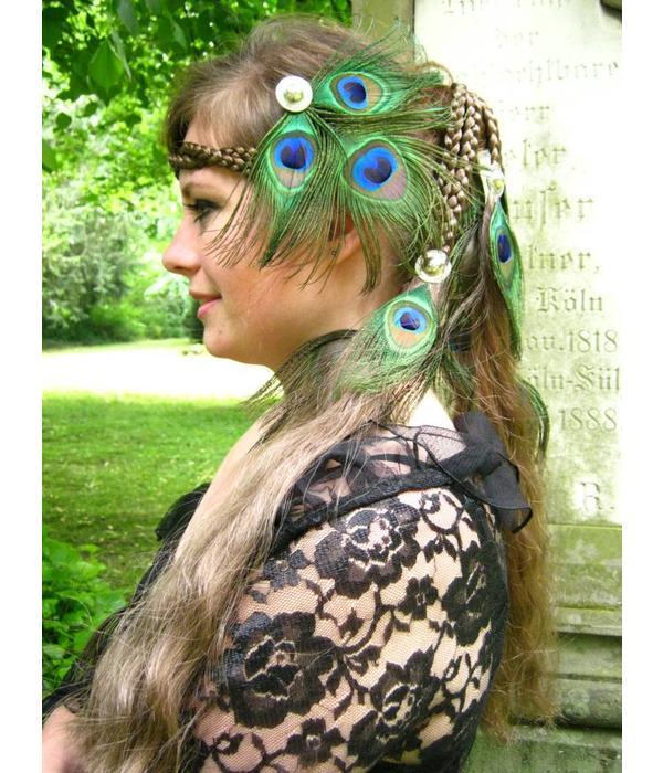 Peacock Feather Silver Tribal Headpiece