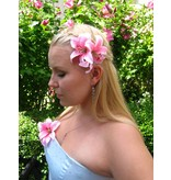 Pink Double Lily Hair Flower 2 x
