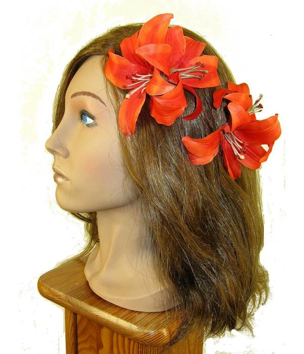 Orange Double Lily Hair Flower 2 x