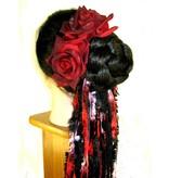 Black-Red Rose Hair Flower 2 x