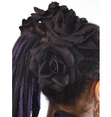 Black Velvet Rose Hair Flower 2 x