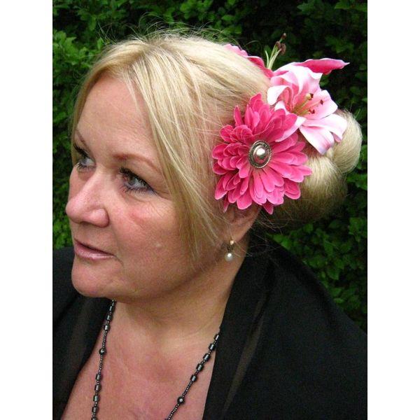 Pink Button Hair Flower 2 x