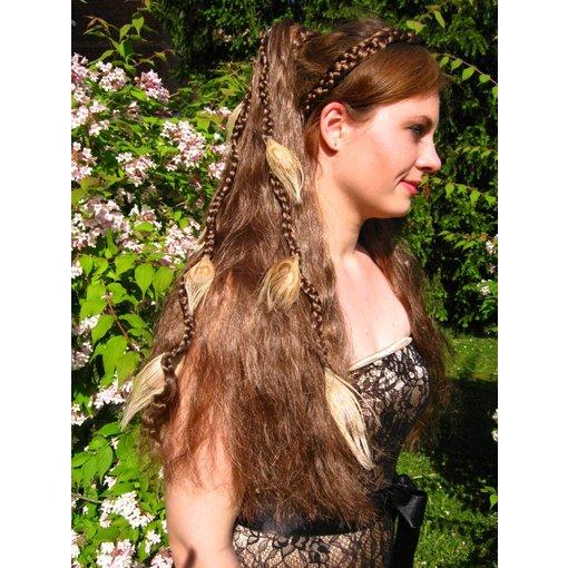 Helle Pfauenfeder Haarverlängerung