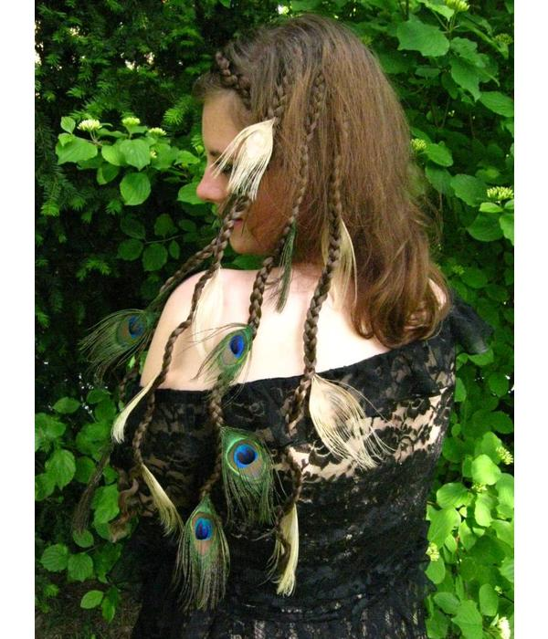 Peacock Feather Hair Pieces, Set Fair & Natural