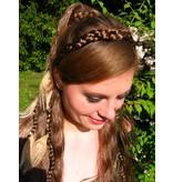 Pfauenfeder Haarteil Set, helle & grüne Federn