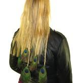 Pfauenfeder Haarteil XL Set