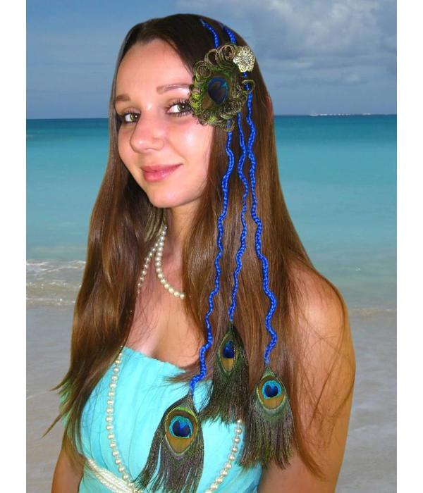 Peacock Feather Hair Pieces L Set