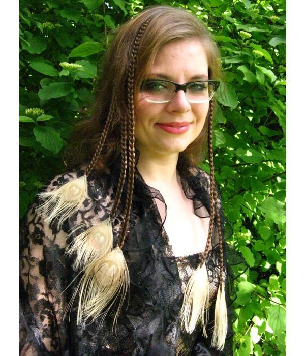 Helle Pfauenfeder Haarteile M Set