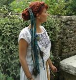 Golden Mermaid Peacock hip & hair tassel clip/ yarn fall