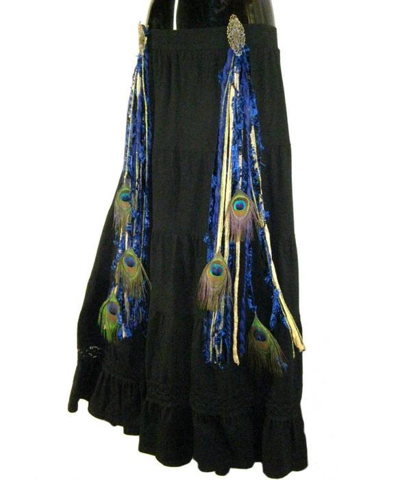 Gürtel- & Haarclip Gold & Blau Pfau