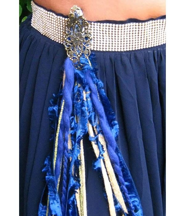 Gold & Blue Peacock hip & hair tassel clip/ yarn fall