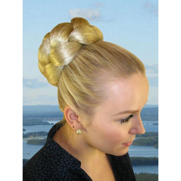 Braided Bun L size, crimped hair