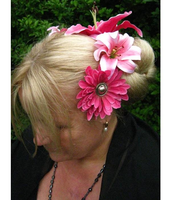 Pink Passion Hair Flower Set