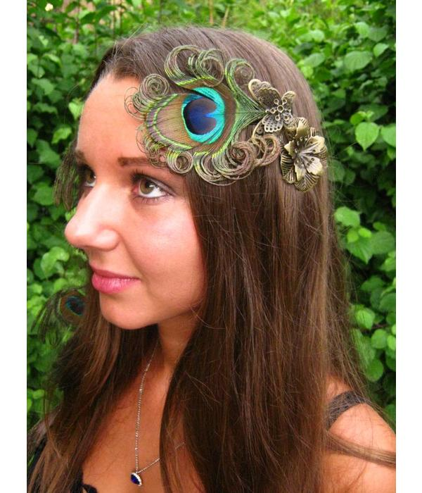 Peacock Feather Butterfly Fascinator