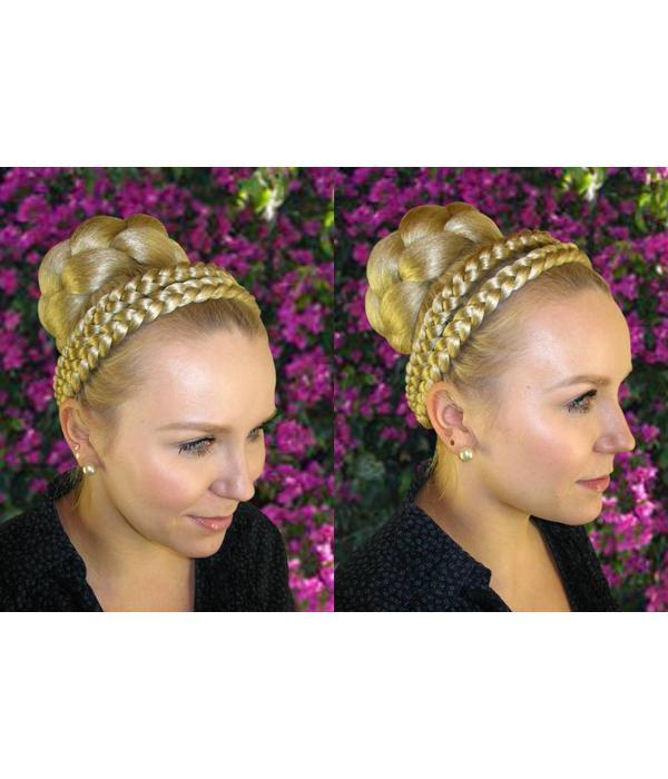 Flecht-Dutt, Haarknoten Größe L, gekrepptes Haar