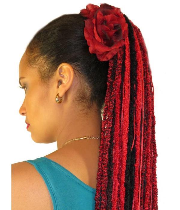 Wine Red Rose Hair Flower 2 x
