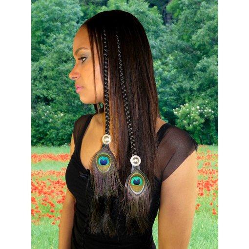 Tribal Fusion Pfauenfeder Haarteil