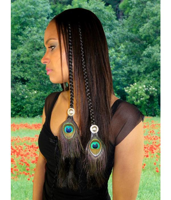 Tribal Fusion Peacock Feather Hair Piece