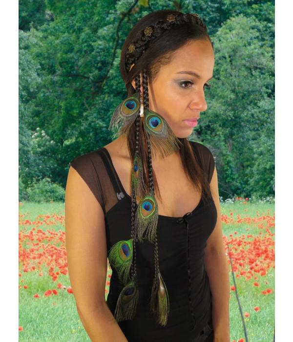 Peacock Feather Extensions, 7 Feathers