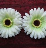 Cream-Green Chrysanthemum Hair Flower 2 x