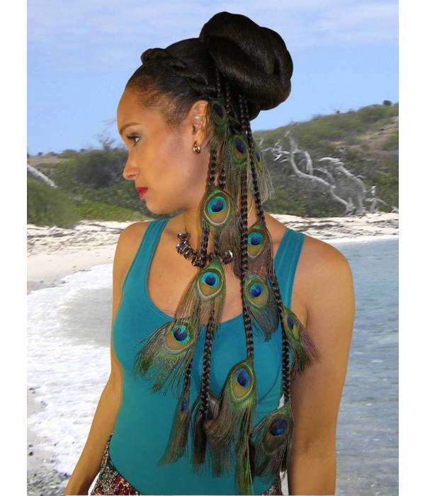 Peacock Feather Extensions Set 16 Feathers