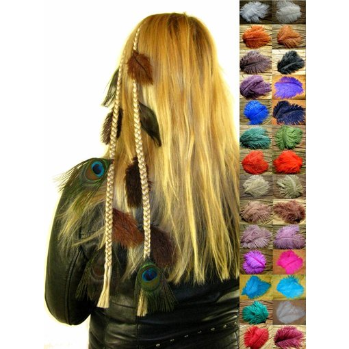 Ostrich & Peacock Feather Hair Piece