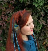 2x Peacock Extensions, 7 feathers each - turquoise
