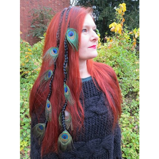Black Goth Peacock Extensions, 9 Feathers