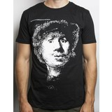 Zwart T-shirt met Rembrandts Zelfportret met verbaasde blik
