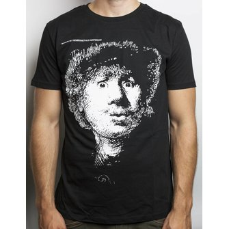 Black T-shirt with Rembrandt's Self-portrait open-mouthed