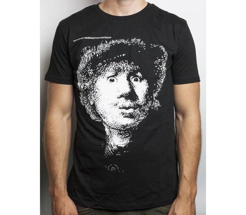 Zwart T-shirt Zelfportret Verbaasde Blik