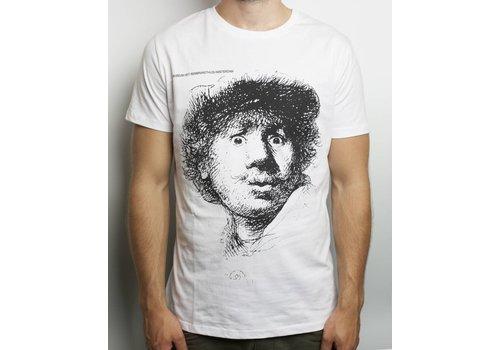 Wit T-shirt met Rembrandts Zelfportret met verbaasde blik
