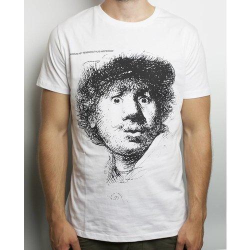 Wit T-shirt Zelfportret Verbaasde Blik